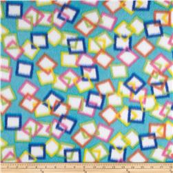 Fleece Print Square Turquoise