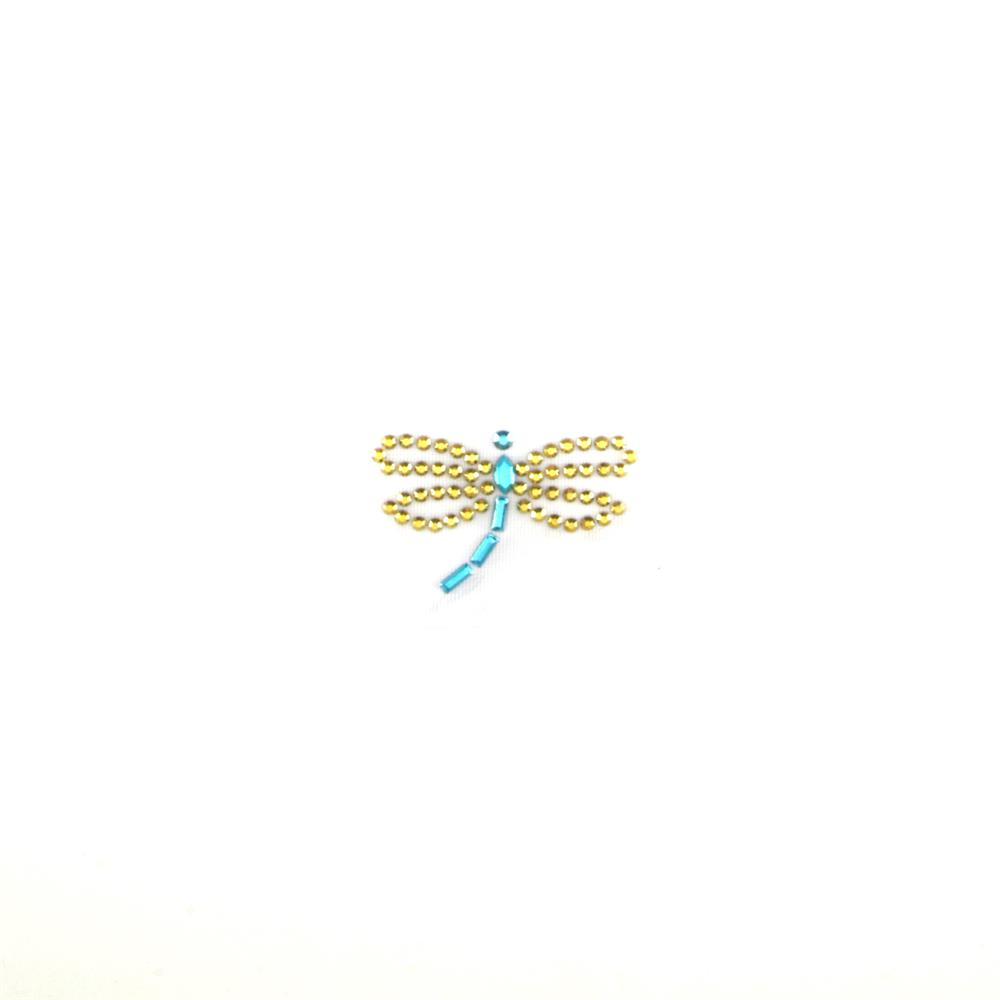 Dragonfly Rhinestud Applique Lime