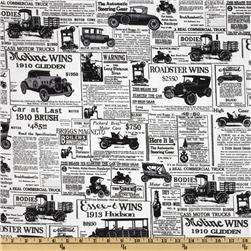 Antique Cars News Print White/Black