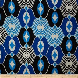 Charmeuse Satin Geometrics Royal/White