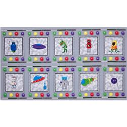 Mission Space Alien & Spaceship Patchwork Panel Grey