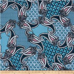 Stretch ITY Jersey Knit Paisley Patch Teal
