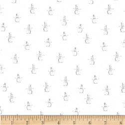 Dear Stella Tinsel Town Snowmen Grey Fabric