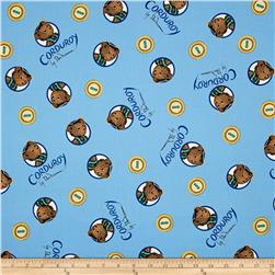 Cloud 9 Orangics Corduroy Bear Button Portrait Blue