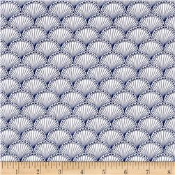 Michael Miller Sea Life Scallops Navy