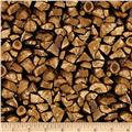 Timeless Treasures Country Holiday Firewood Wood