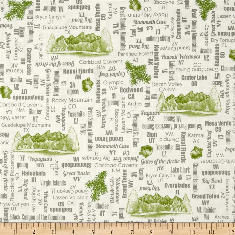 Our National Parks Names Tan Discount Designer Fabric