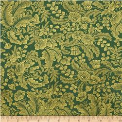 Alchemy Metallic Floral Pine/Gold Fabric