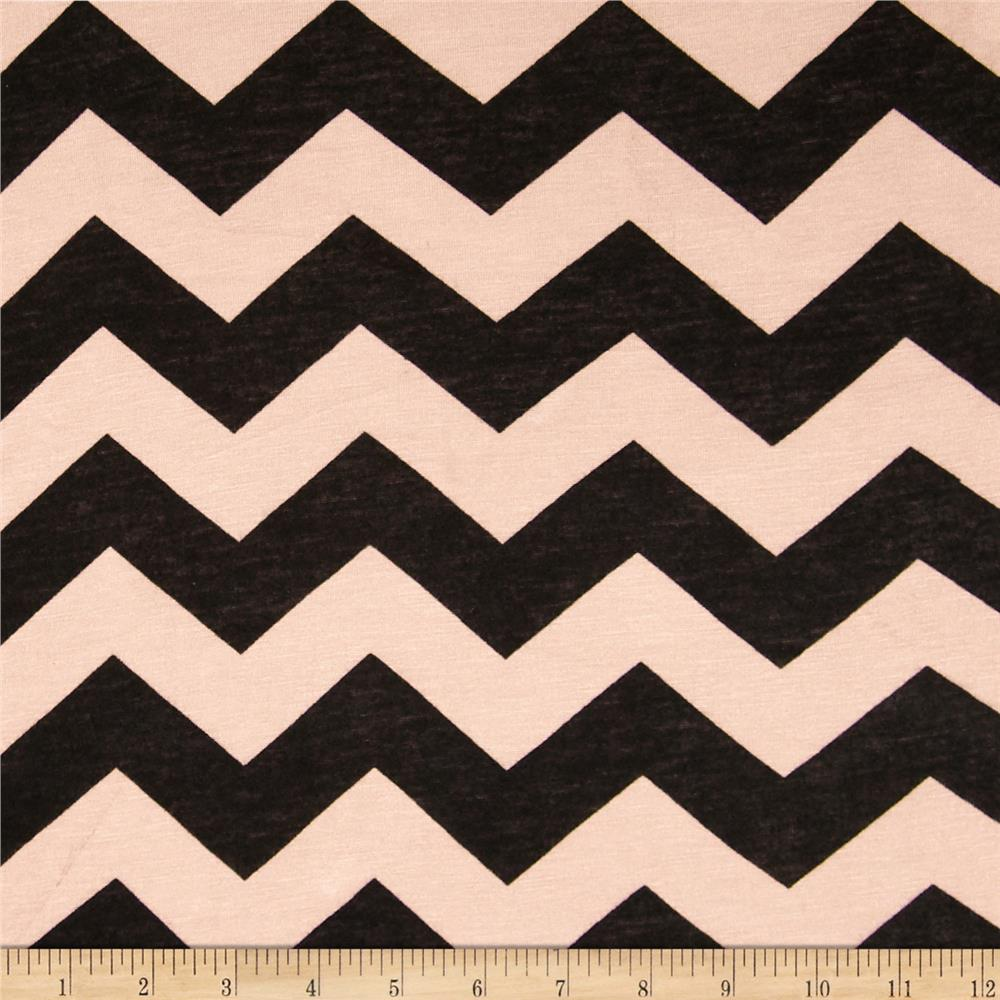 Rayon Jersey Medium Chevron Tan/Black