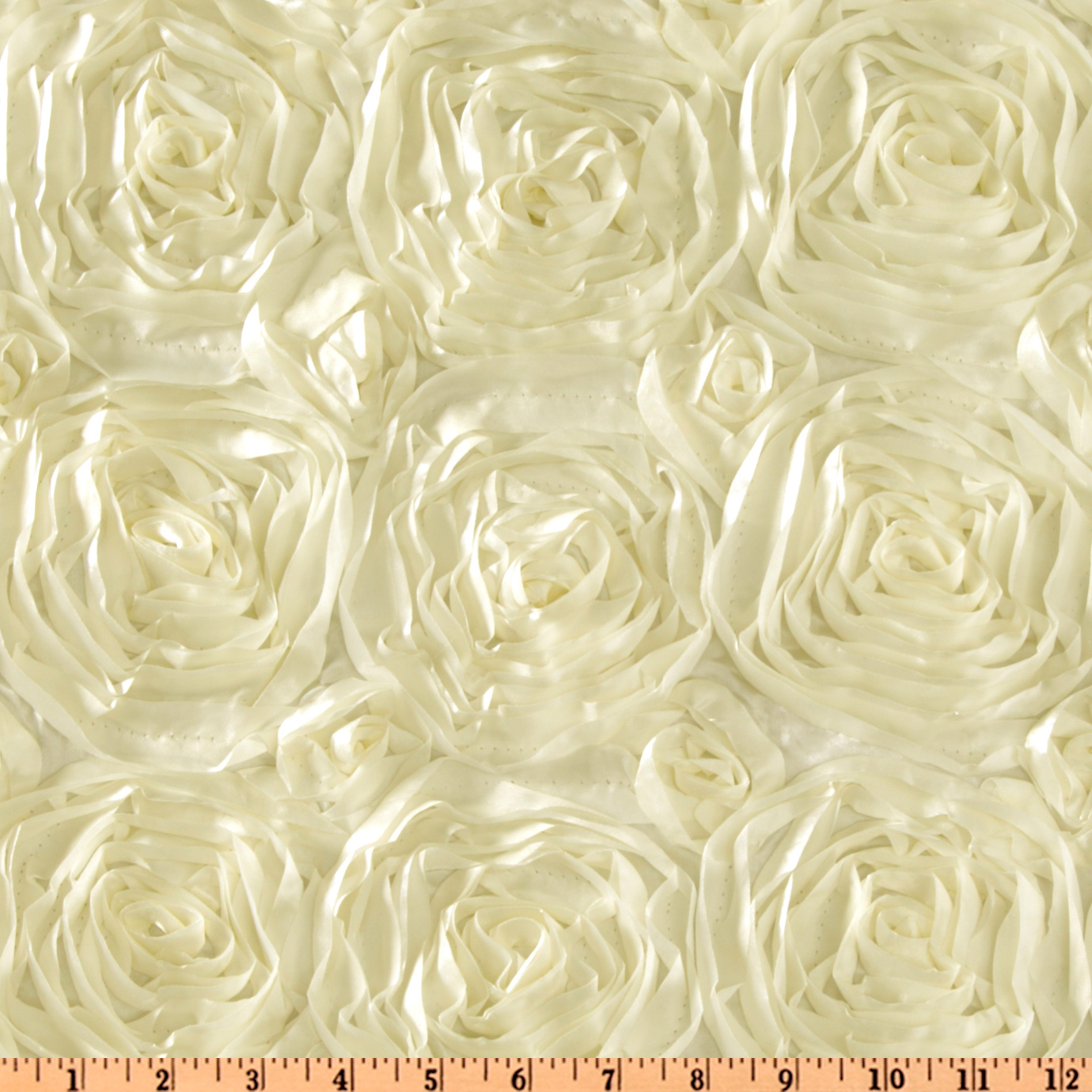 Splenda Satin Ribbon Rosette Ivory Fabric