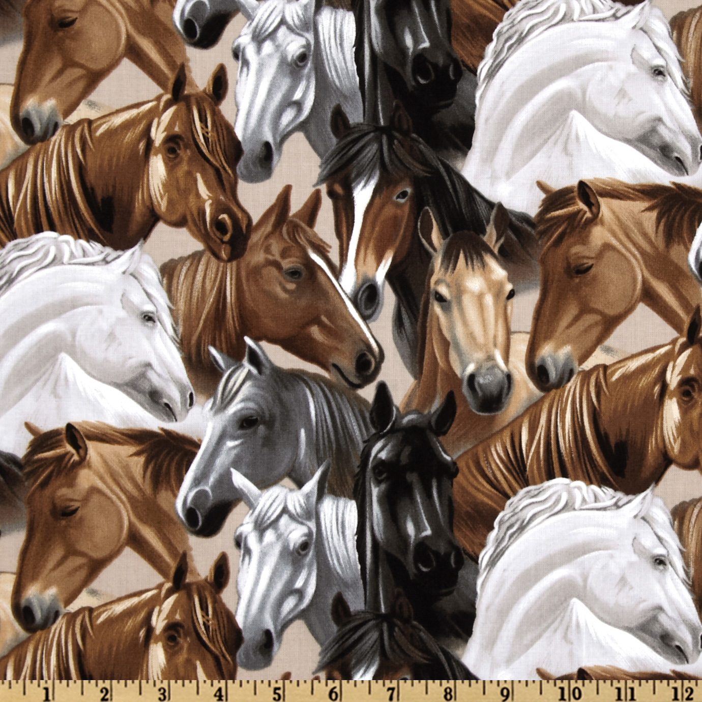 Kanvas Best of the West Horses Grey Fabric