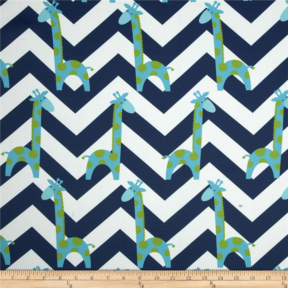 RCA Giraffe Chevron Blackout Drapery Fabric Capri Blue/Blue