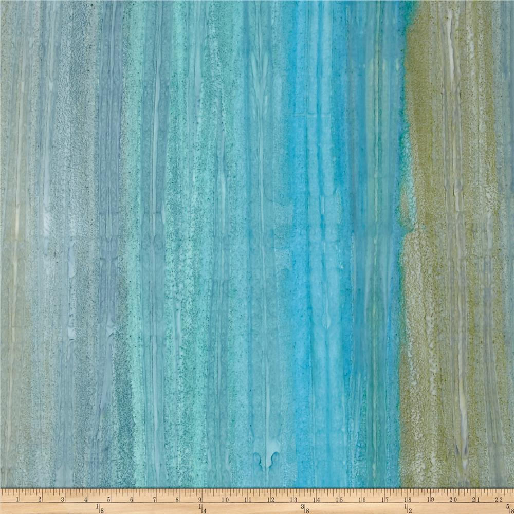 Kaufman Artisan Batiks Patina Handpaints Stripes Aqua