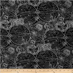 Kanvas Law Library New World Map Black/Grey Fabric