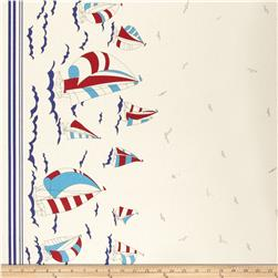 Kokka Trefle Canvas Nautical Border Print Natural Fabric