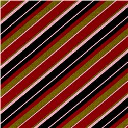 Poly Cotton Spandex Stripe Pink/Black/Green
