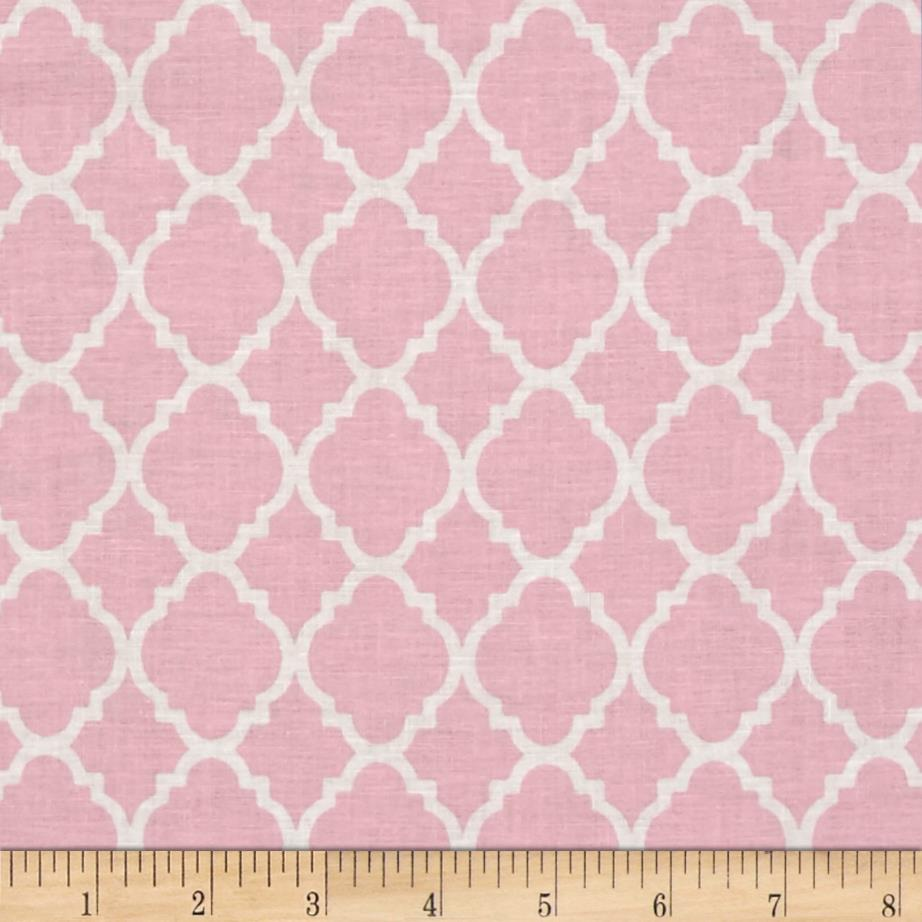 Quatrefoil pink white discount designer fabric for Cheap plain white wallpaper