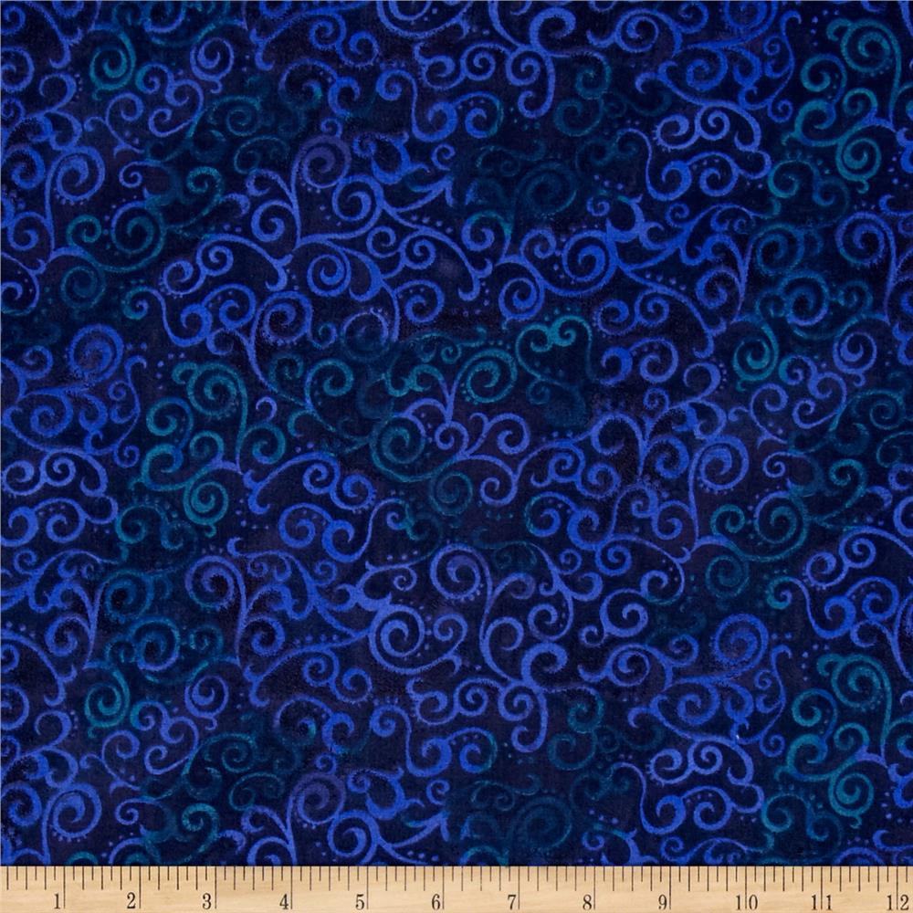 """Quilting Treasures 108"""" Wide Quilt Back Ombre Scroll Navy"""