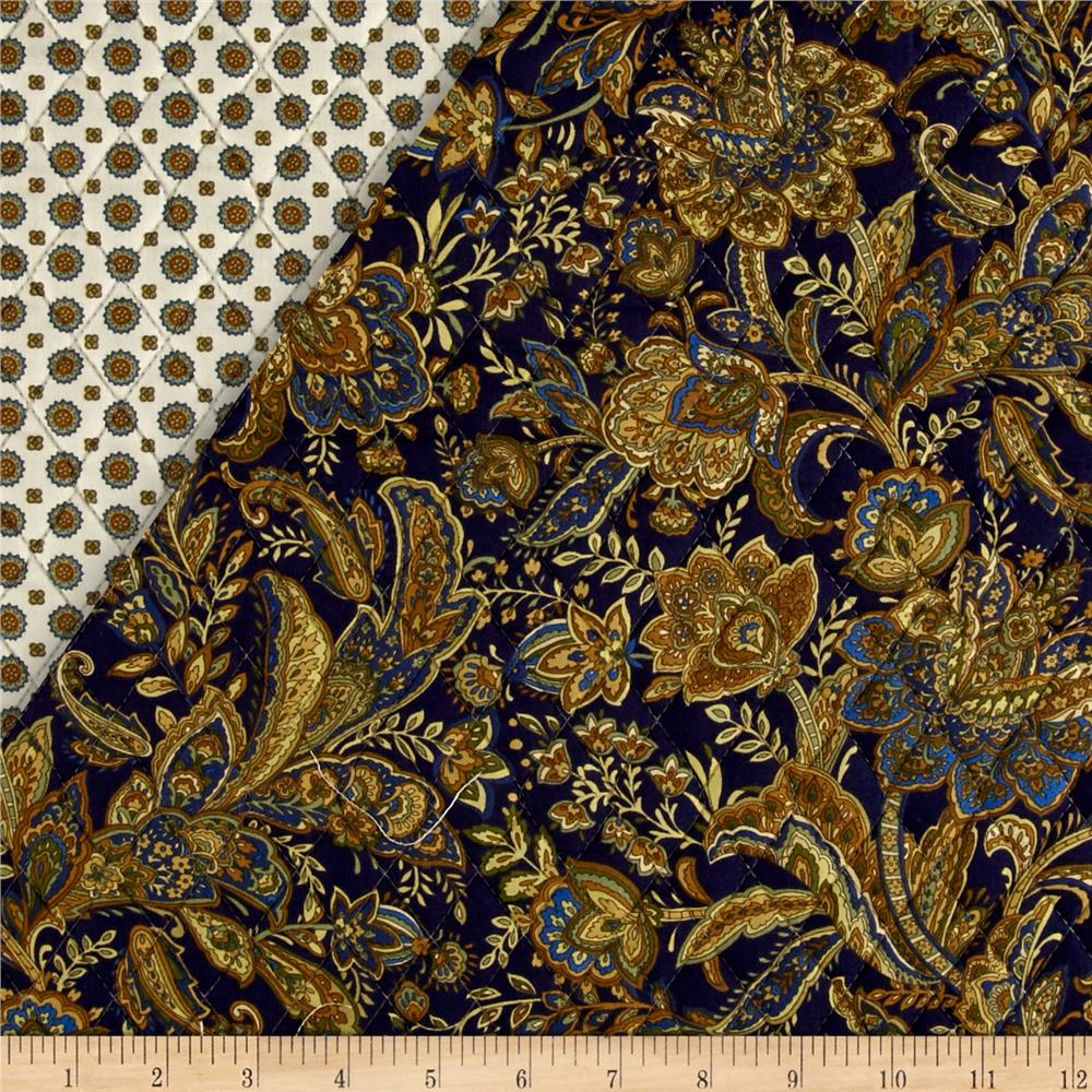 Briarcliff Double Sided Quilted Paisley Floral Navy