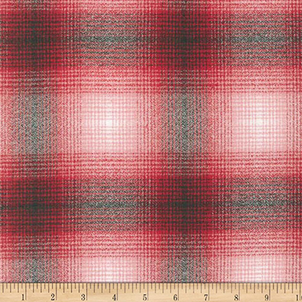 Kaufman Mammoth Flannel Plaid Red/Black Fabric By The Yard