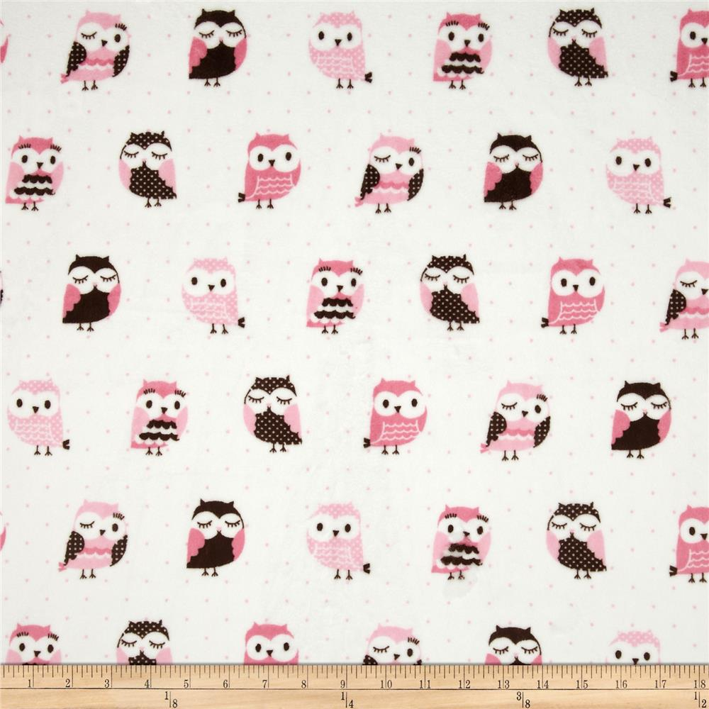Minky Owls Pink/Brown - Discount Designer Fabric - Fabric.com