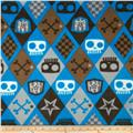 Boys Rock Fleece Skull Boy Argyle Blue
