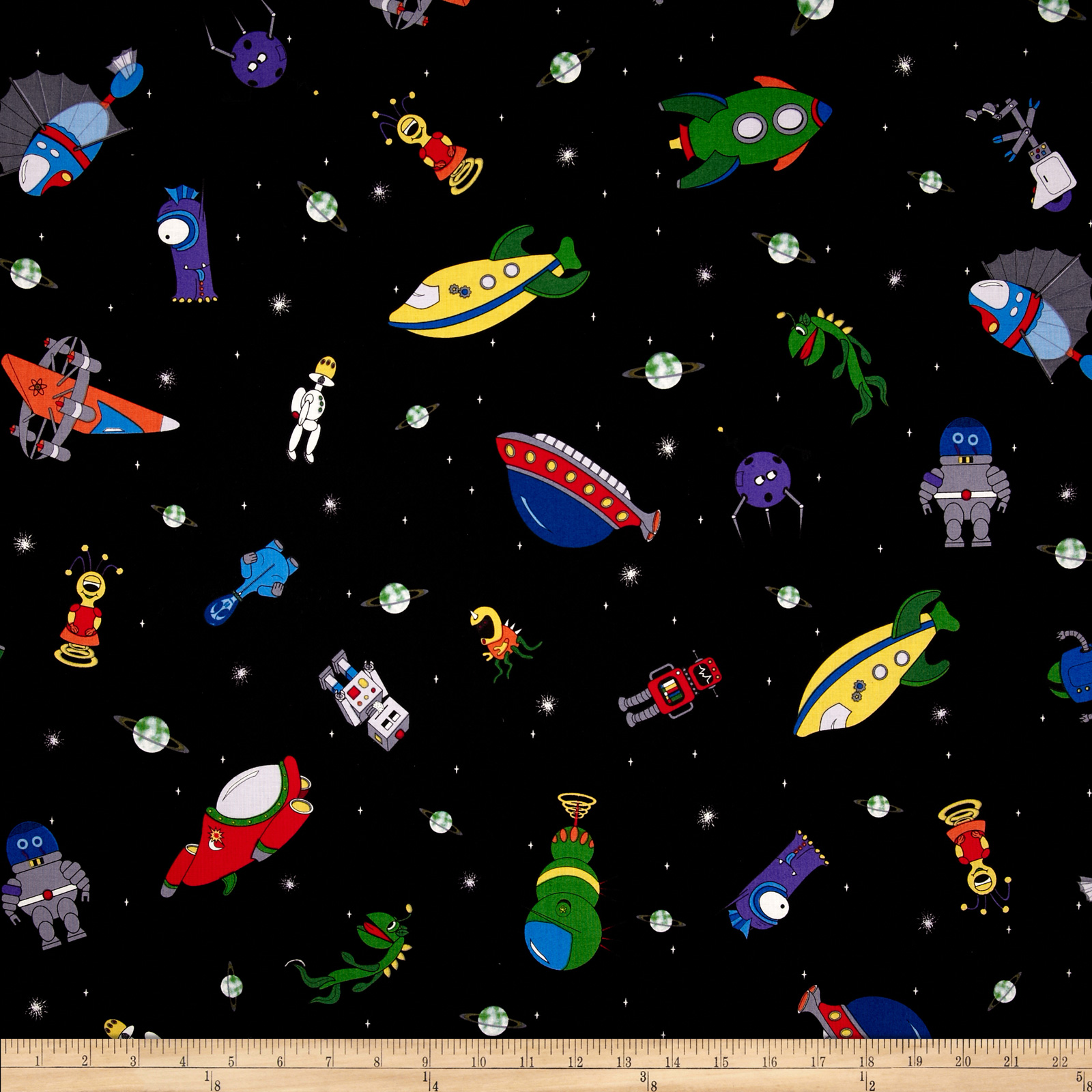Mission Space Tossed Aliens Black Fabric