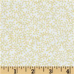 Paisley Peacock Metallic Vine White/Gold Fabric