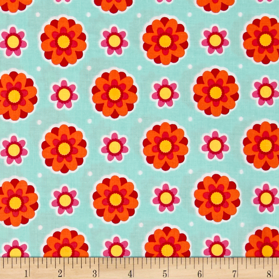 Image of Anna's Garden Flower Dots Sky Fabric