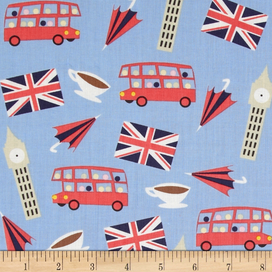 Dear Stella London Calling London Motifs Blue Fabric
