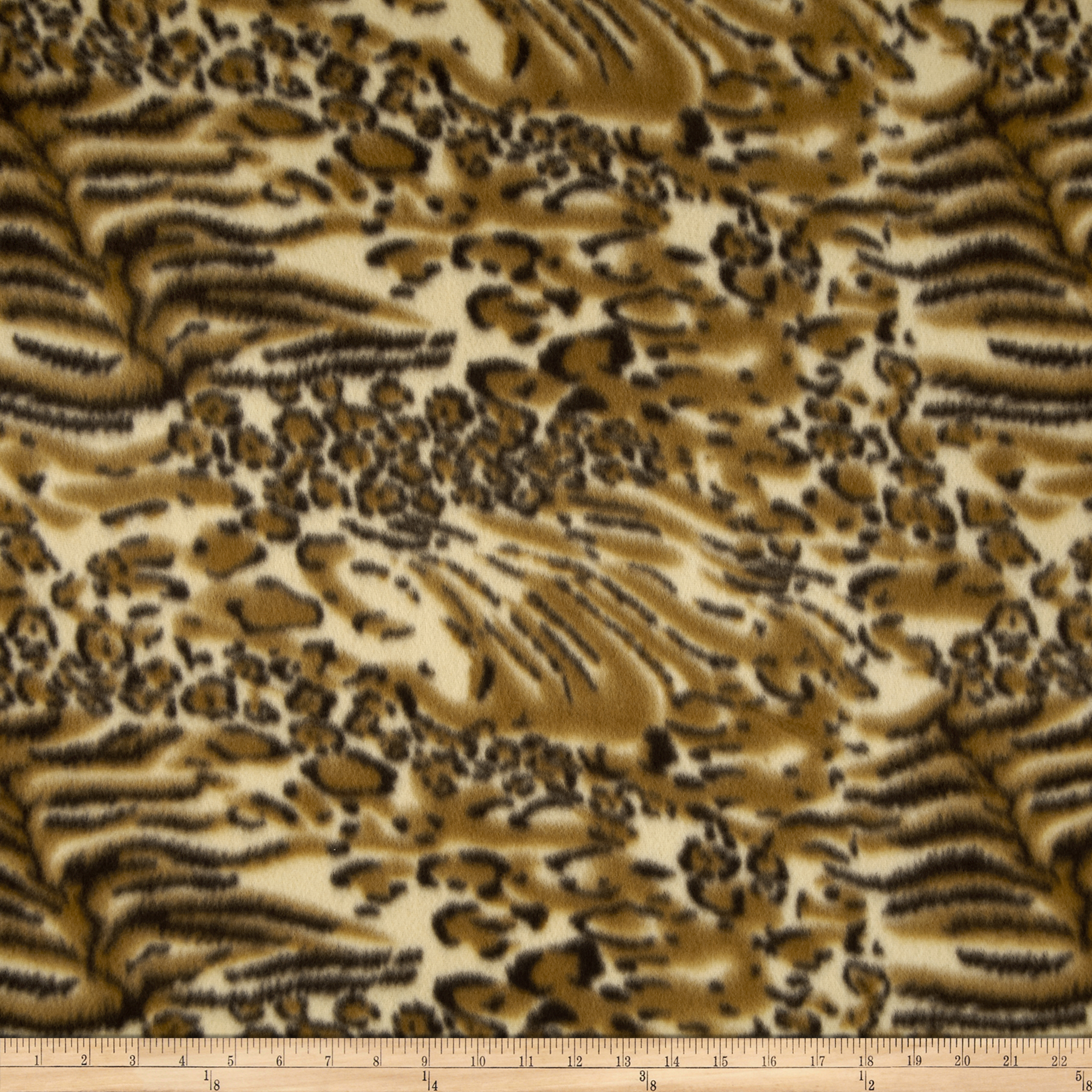 Printed Fleece Cheetah & Tiger Brown Fabric