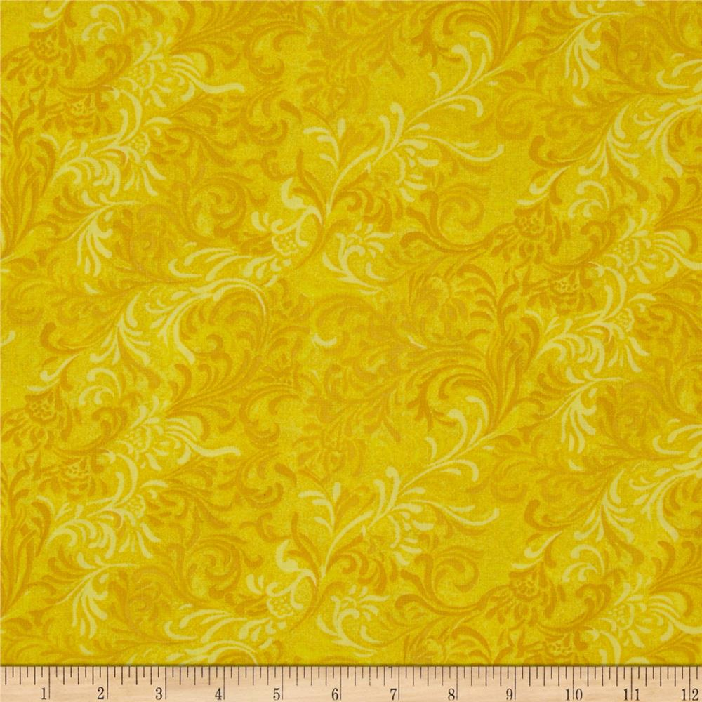 "108"" Wide Essentials Quilt Backing Flourish Yellow"