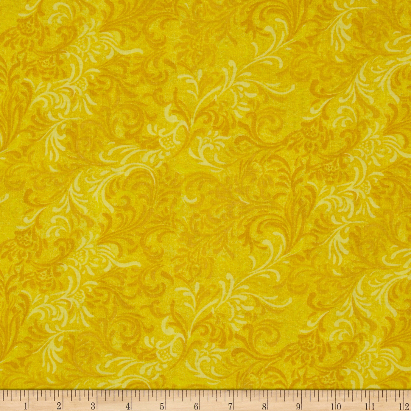 108'' Essential Flourish Quilt Backing Yellow Fabric