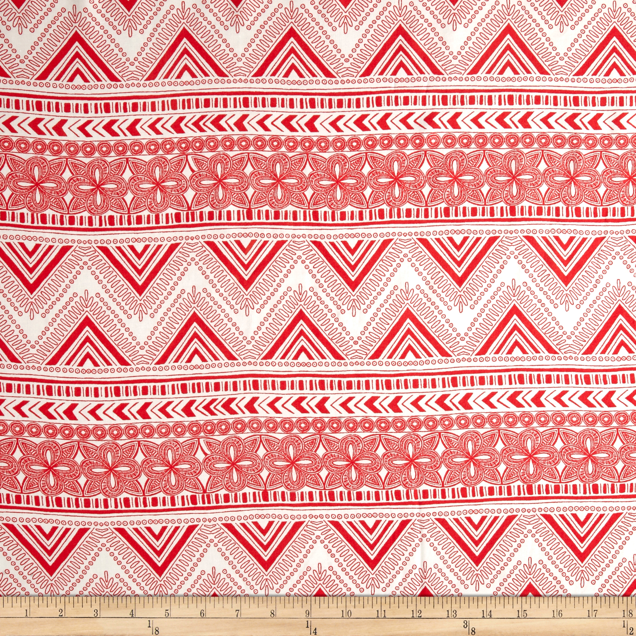 Zig-Stardust Rayon Challis Coral/Ivory Fabric by Neiman in USA