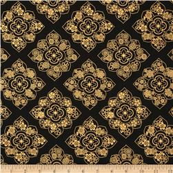 Satsuki Metallic Medallion Black Fabric