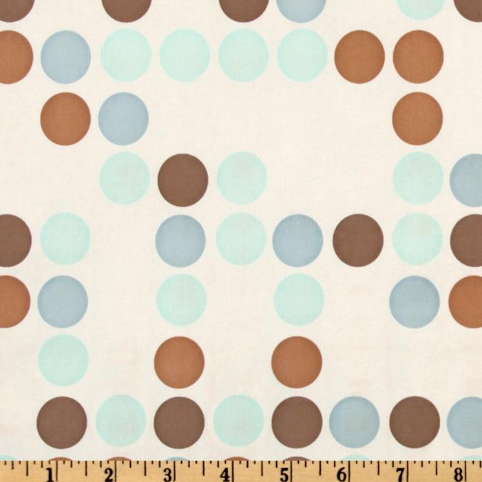 Flannel Backed Vinyl Polka Dot Blue/Brown