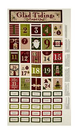 "Glad Tidings 24"" Advent Calendar Panel Cream"