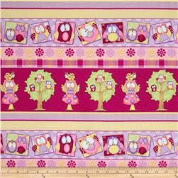 Whoo Me? Novelty Stripe Pink Fabric