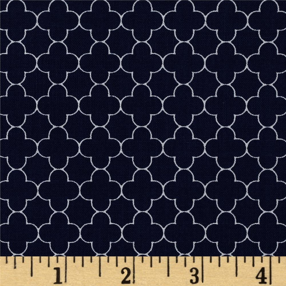 Riley Blake Mini Quatrefoil Navy