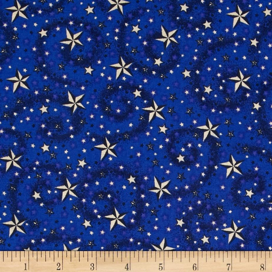 American Dreams 108 In. Wide Quilt Back Stars w/ Swirl Navy