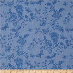 """108"""" Wide Quilt Back Floral Butterfly Periwinkle"""
