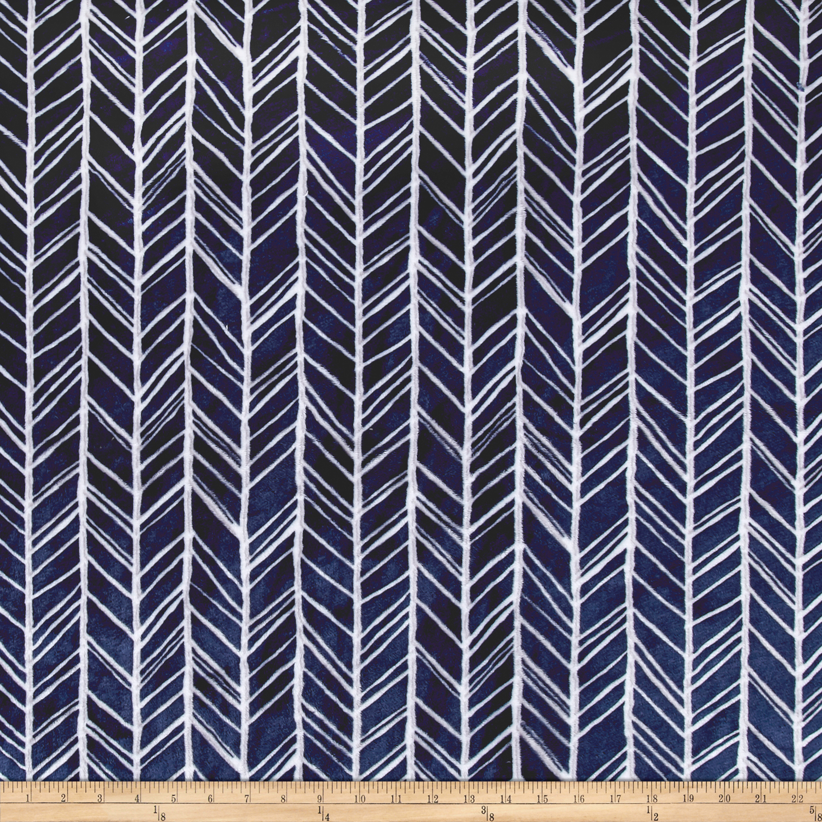 Image of Shannon Minky Cuddle Herringbone Navy/Steel Fabric