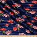 Crinkle Tricot Knit Floral Navy/Poppy