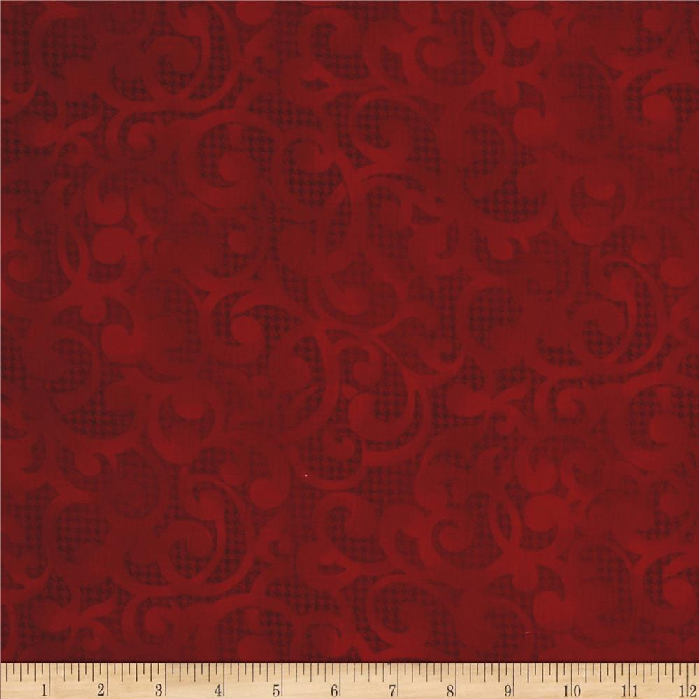 "Filigree 108"" Wide Quilt Backing Red"
