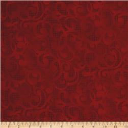 Filigree 108'' Wide Quilt Backing Red