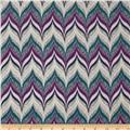 Designer Rayon Challis Herringbone Purple/Teal/Grey