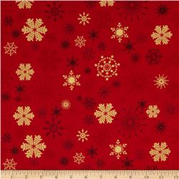 Season's Greetings Metallic Snowflakes Red