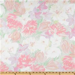 Cotton Broadcloth Watercolor Floral Pink/Green
