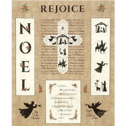 "Timeless Treasures Noel 36"" Christmas Panel Beige"