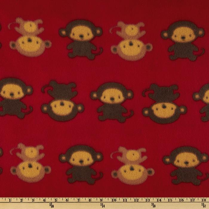 Novelty Fleece Monkey Business Red